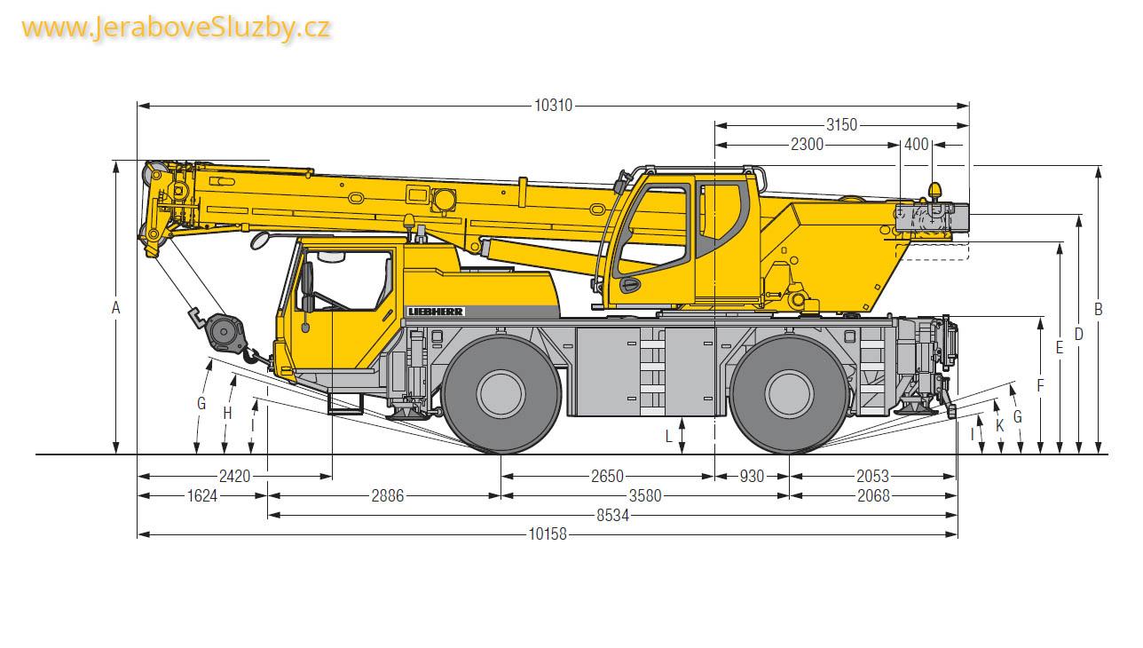 Jeřáb Liebherr LTM 1030-2 technické nákresy bokorys