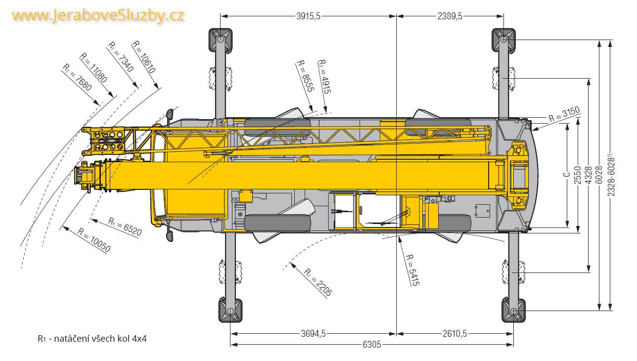 Jeřáb Liebherr LTM 1030-2 technické nákresy půdorys
